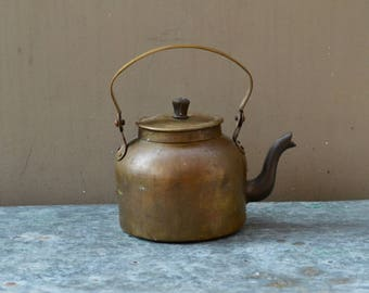 Old brass teapot vintage rustic cottage style country kitchen decor kettle Indian homewares