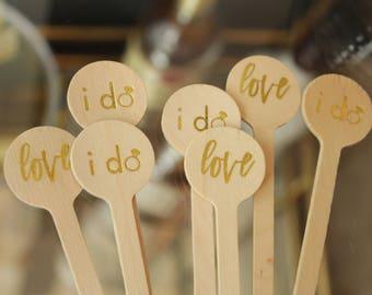 """Wedding Drink Stirrers """"i do"""" & """"love"""" designs in Gold Foil"""