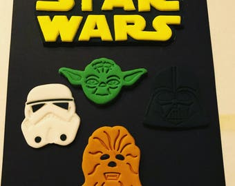 3 pc Star Jedi Galaxy War cake or Cupcake Toppers- Star Wars inspired