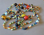 Long Vintage Glass Bead Necklace Colorful Art Glass Beads Hippie Boho Jewelry