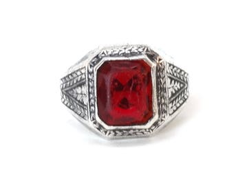 Vintage Red Glass Stone Ring Sterling Silver Faux Ruby Gemstone Big Large Size 10.75 Antique Very Old Mens Mans Jewelry
