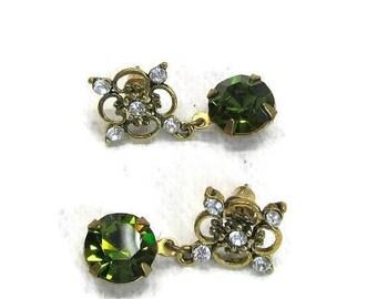 AUGUST SALE APRIL Sale Vintage Swarovski Crystal earrings green olivene