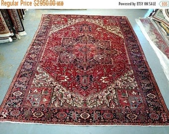 SUMMER CLEARANCE 1960s Hand-Knotted Vintage Heriz Gorovan Persian Rug (3617)