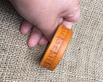 Yellow leather bracelet  Handmade leather bracelet with Kazakhsha pattern