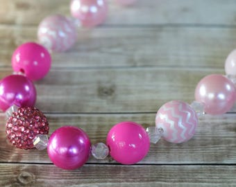 Pink and white chunky necklace and bracelet set gumball beads photo props flower girl accessories