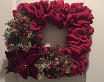 Red Burlap Square Wreath