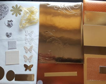 Gold Collage Pack G2 ephemera die cuts paper Inspiration pack for junk journals scrapbook cardmaking feathers flowers