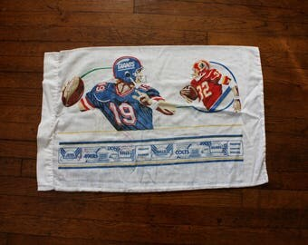 Vintage NFL Football Pillow Case. One Retro 80s Kid Double Sided NFL NY Giants, Washington, 49ers, Raiders Sports Pillowcase.