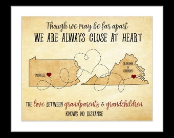 Personalized grandparent gifts long distance family map wall art, long distance map prints unique mothers day custom gift the love between
