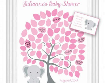 DIY Baby Shower Guest 16x20 Sign-In Tree Poster Digital Jpeg File -Elephant Baby Shower GuestBook Alternative - 75 leaves - READ DESCRIPTION