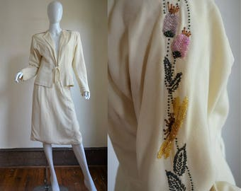 1940s Cream Wool Skirt Suit with Dramatic Beaded Sleeves & Huge Shoulderpads