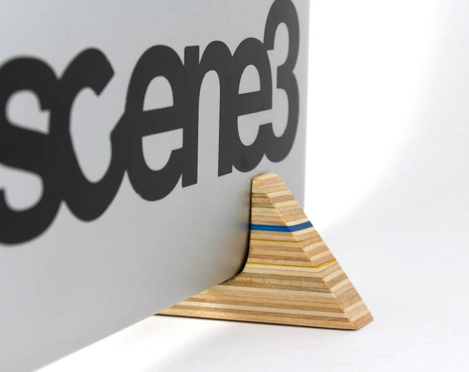 Vertical Laptop Stand made from Recycled Skateboards