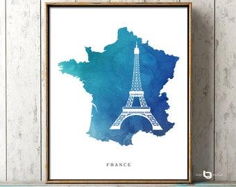 France Map Wall Art, Eiffel Tower Map Print, Paris Print, France Watercolor Print, France Map Poster, Travel Poster, Eiffel Tower Print