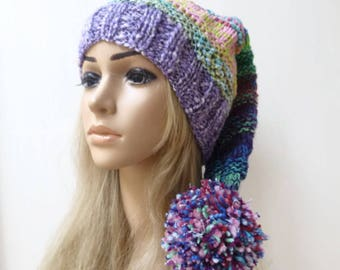 Elf Pixie Pom Pom Hat - Hand Knit Hat - Women Stocking Hat - Hand Knit Purple Elvin Hat - Long Tailed Stocking Slouch Hat - Clickclackknits
