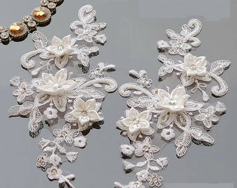 1 pair,lace pearl applique, Wedding bridal applique, Off White embrodiery rose lace,Lingerie lace,Gloves Craft, Sash craft