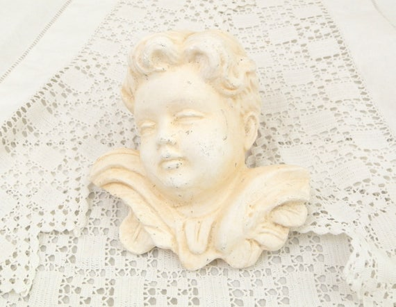 Vintage White Plaster of Paris Cherub / Cherubim from France, French Wall Hanging Chalkware Angel, French Shabby Chateau Chic Nordic Decor