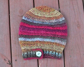 Berry Stripe Crochet Slouchy Hat // Wool Tam with Antler Button