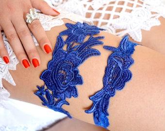 Garter Cobalt Blue, Wedding Garter Blue, Bridal Garter Blue, Lace Garter, Blue Wedding, Garter Set Blue, Blue Garter Belt, Blue For Brides