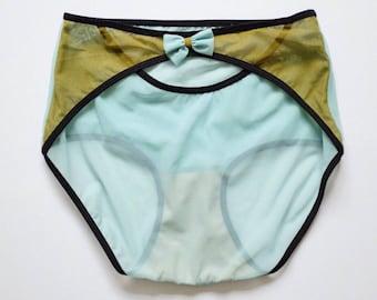 Mesh panties. light blue high waist. sheer undies with moss green detail.