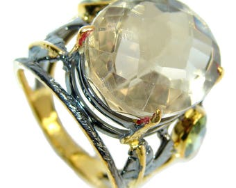 Citrine, Peridot Sterling Silver Ring - weight 9.60g - Size 8 1 2 - dim L -1, W -7 8, T -1 4 inch - code 18-maj-16-44