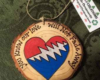 Handmade recycled wooden ornament NFA Grateful Dead