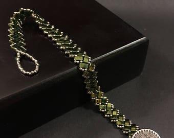 Half Tila Beaded Bracelet - Emerald and Silver - 7.5 in