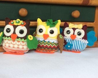 Felt Owl ornaments.Felt owl decoration. Baby shower felt ornament.