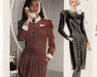 "A Front Buttoned, Fitted Bodice, Long Sleeve, Softly Pleated Slim Skirt Dress Pattern for Women: Uncut - Size 12, Bust 34"" • McCall's 3861"