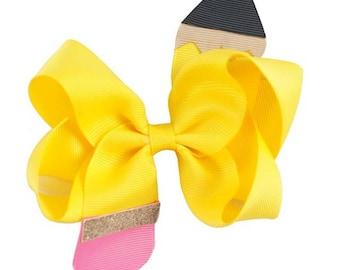 "Back to School | 4.5"" Hair bow clip baby girl grosgrain hairbow pencil headband toddler newborn Medium Bows"