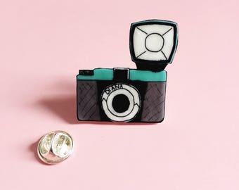 Diana Camera Pin - Vintage Camera Pin - Illustrated Pin - Handmade Brooch - Shrink Plastic Pin - Lapel Pin - Camera Brooch