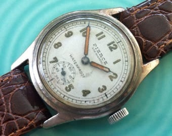 PIERCE WATCH, Free Shipping Military Style Swiss, Sterling Silver, Caliber 103, Sub Seconds 40-hr Power Reserve, 1938, Vintage Working Great