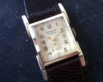 Morgan's Watch by Rodania, Swiss Wristwatch, Works Great, Vintage Men's, 17 Jewels, Gold Plate Rectangular Bezel, Sub Seconds, Free shipping