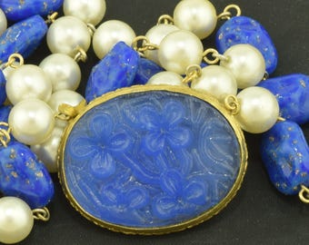 Blue Press Glass Flower Necklace Hidden Clasp ~ Lot 1839