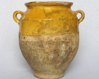 1800s Antique French Terracotta Confit Pot, with eye-catching yellow glazing