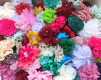 30 pc- Mixed Flower- Grab Bag ** DIY Hair flower - Fabric flower- Headband flower- Hair accessories- Headband supplies- Assorted colors