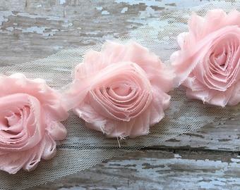 "3 pc- Pastel Pink ** Shabby Flower Trim Chiffon Rosettes ** Each flower measures 2.5"""