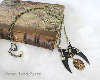 Antique Endpapers Gothic Gypsy Boho Assemblage Necklace