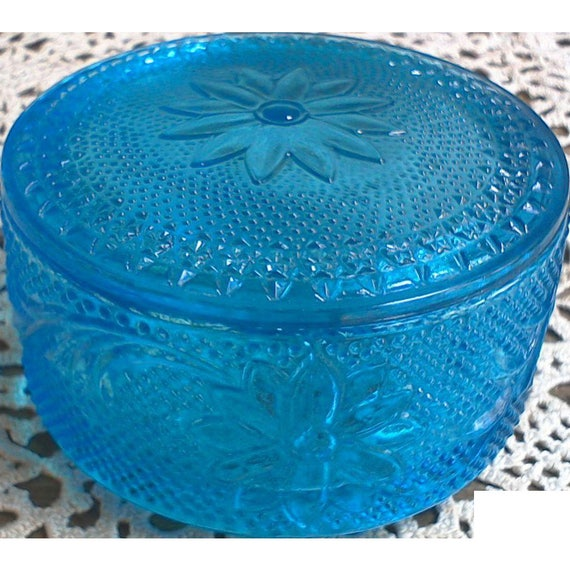 Vintage Blue Pressed Glass Jar or Covered Dish with Lid ~ Trinket Box ~ Vanity Jar ~ Vanity Glass Dish ~ Blue Art Glass ~ Jewelry Box