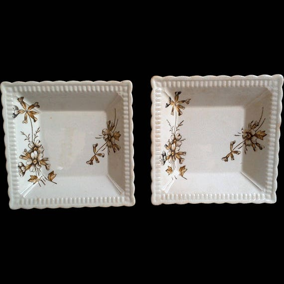 Square Butter Dishes ~ Trinket Dishes ~ Set of 2 ~ Appetizer Dishes ~ Trinket Dishes