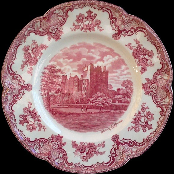 """Red Transferware Plate, Johnson Brothers Dinner Plate, """"Blarney Castle 1792"""", Red Transferware, Serving Plate, Wall Decor"""