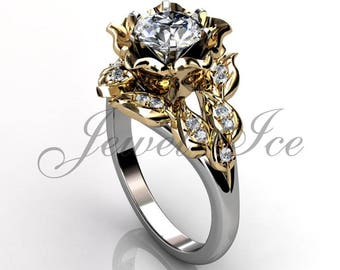Floral wedding ring etsy leaves flower engagement ring 14k white and yellow gold diamond leaf flower engagement ring junglespirit Choice Image
