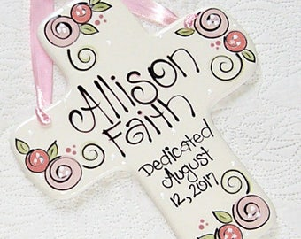 Personalized Dedication Cross in Pink for Girls // Baby Dedication Gifts