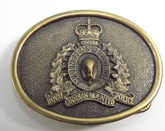 Vintage R.C.M.P. Solid Brass Belt Buckle, Canada Royal Canadian Mounted Police