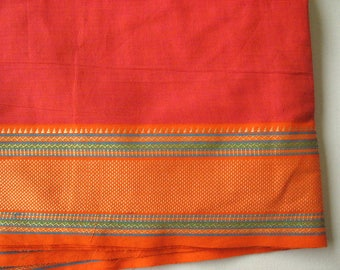 Handloom Two Tone Cotton Border Fabric in Carrot Red and Orange Color Sold by Ya