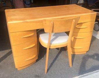 Heywood Wakefield Knee Hole Desk w/ Chair  Wheat 1950's Retro Mid Century