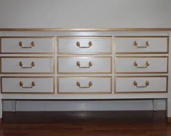SOLD - Mid Century White Dresser/Long Dresser/Changing table