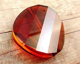 Swarovski crystal, Red Magma, Swarovski 5621, 22mm Faceted Twist Bead, Flat Round Crystal, Large crystal pendant bead, Swarovski Twist Bead