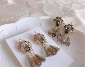Made in Korea Tiara crystal Titanium post earrings Swarovski crystal earrings Titanium earrings Wedding Bridal  earrings