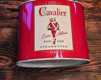 Cavalier Brand Vintage Metal Container for King Size Cigarettes produced Winston Salem North Carolina
