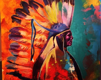 Indian Chief Native American Santa Fe Giclee Canvas Print Wall Art Colorful Abstract Pop Art